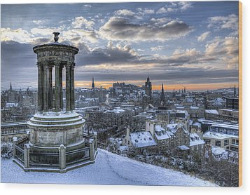 An Edinburgh Winter Wood Print