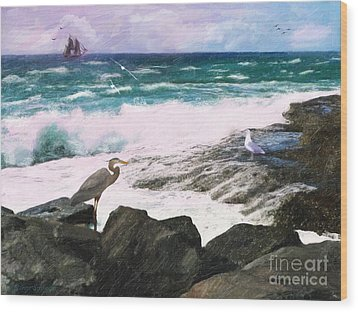 Wood Print featuring the digital art An Egret's View Seascape by Lianne Schneider