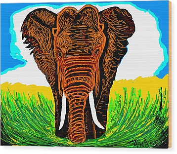 An Elephant-3 Wood Print by Anand Swaroop Manchiraju