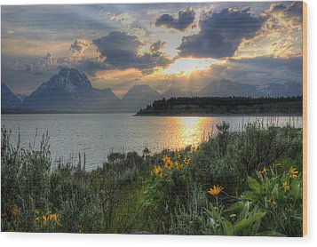 An Evening At Jackson Lake Wood Print