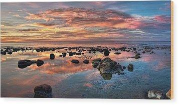 An Evening At The Beach Wood Print
