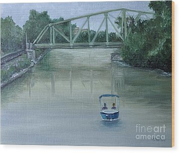 An Evening  Boat Ride On Lachine Canal Wood Print by Reb Frost