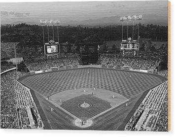An Evening Game At Dodger Stadium Wood Print by Mountain Dreams