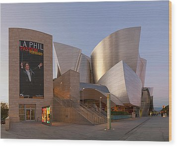 Wood Print featuring the photograph An Evening With Gustavo - Walt Disney Concert Hall Architecture Los Angeles by Ram Vasudev