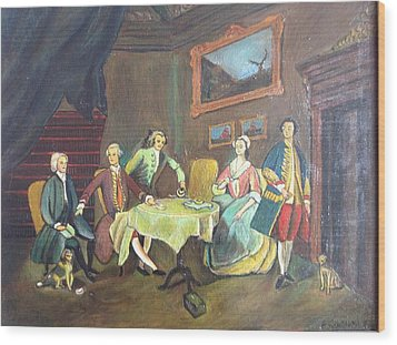 Wood Print featuring the painting An Interior Setting by Egidio Graziani