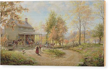 An October Day Wood Print by Edward Lamson Henry