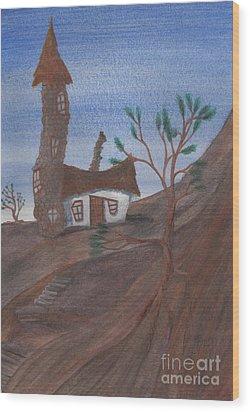An Odd Folly Wood Print by Robert Meszaros
