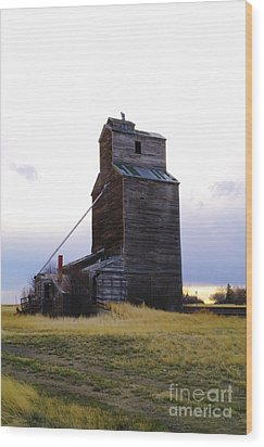 An Old Grain Elevator Off Highway Two In Montana Wood Print by Jeff Swan