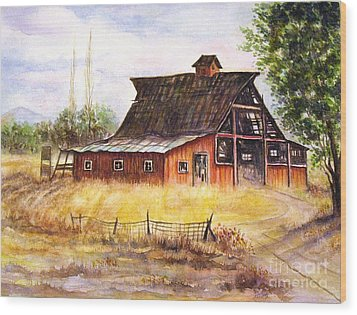 An Old Red Barn Wood Print