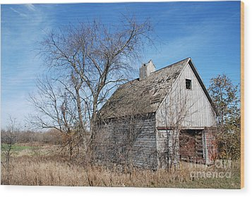 An Old Rundown Abandoned Wooden Barn Under A Blue Sky In Midwestern Illinois Usa Wood Print by Paul Velgos