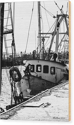 An Old Trawler Wood Print