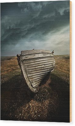An Old Wreck On The Field. Dramatic Sky In The Background Wood Print