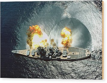 An Overhead View Of The Battleship Uss Iowa Bb61 Firing All 15 Of Its Guns Wood Print by Paul Fearn
