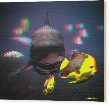 Anaglyph Shark And Fishes Wood Print by Ramon Martinez