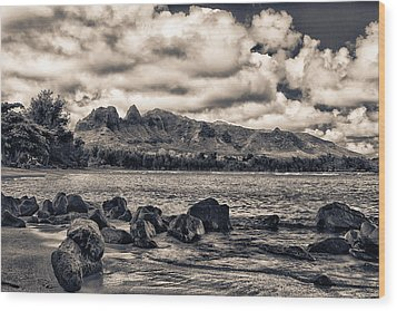 Anahola Mountains Wood Print by Robert  FERD Frank