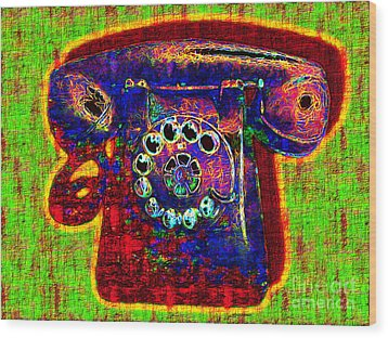 Analog A-phone - 2013-0121 - V2 Wood Print by Wingsdomain Art and Photography