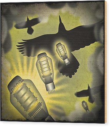 Wood Print featuring the digital art Analog Bombardment by Milton Thompson