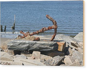 Wood Print featuring the photograph Anchor by Karen Silvestri