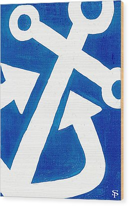 Anchor- Royal Blue Wood Print by Catherine Peters