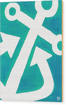 Anchor-turquiose Wood Print by Catherine Peters