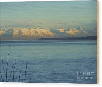 Wood Print featuring the photograph Anchorage Mountains by Brigitte Emme