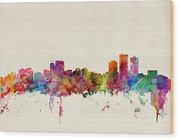 Anchorage Skyline Wood Print by Michael Tompsett