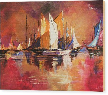 Anchored At Sunset Wood Print