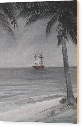 Wood Print featuring the painting Anchored For The Night by Virginia Coyle
