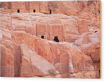 Ancient Buildings In Petra Wood Print by Jane Rix