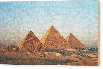 Ancient Egypt The Pyramids At Giza Wood Print