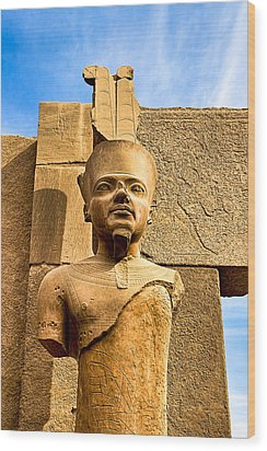 Ancient Face Of A Pharaoh At Karnak Wood Print by Mark E Tisdale
