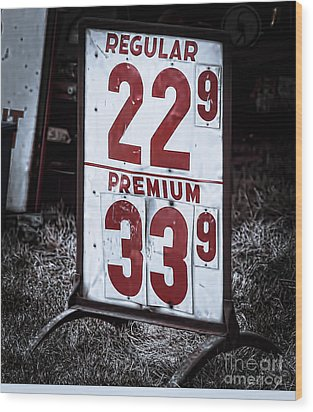 Ancient Gas Prices Wood Print