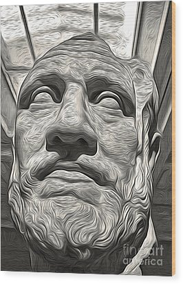 Ancient Greek Bust Wood Print by Gregory Dyer