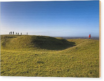 Ancient Hill Of Tara In The Winter Sun Wood Print by Mark Tisdale