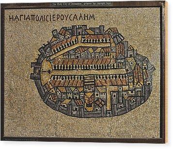 Ancient Jerusalem Mosaic Map Color Framed Wood Print