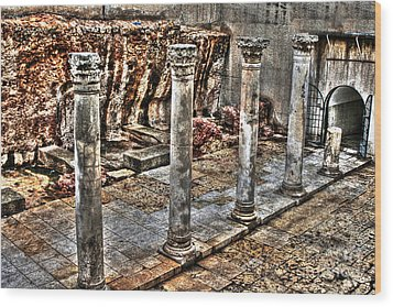Wood Print featuring the photograph Ancient Roman Columns In Israel by Doc Braham