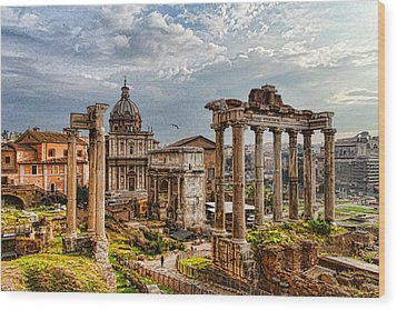 Ancient Roman Forum Ruins - Impressions Of Rome Wood Print