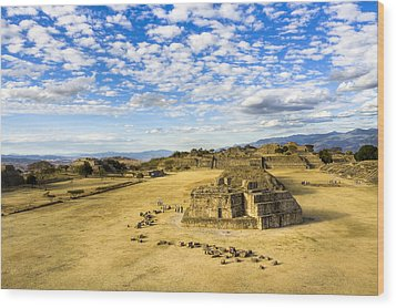 Ancient Ruins Of A Zapotec Temple Wood Print by Mark E Tisdale