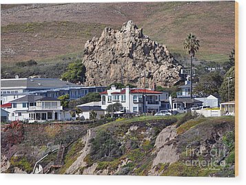 Ancient Sea Stack At Pismo Beach Above Motels Wood Print by Susan Wiedmann