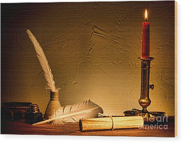 Ancient Texting Wood Print by Olivier Le Queinec