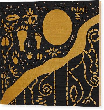 Ancient Worship Tribal Art Wood Print by Georgeta  Blanaru