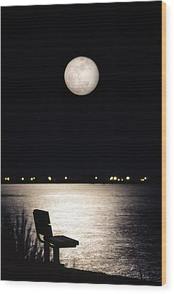 And No One Was There - To See The Full Moon Over The Bay Wood Print