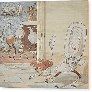 And The Dish Ran Away With The Spoon Wood Print by Randolph Caldecott