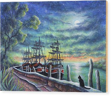 And We Shall Sail My Love And I Wood Print by Retta Stephenson