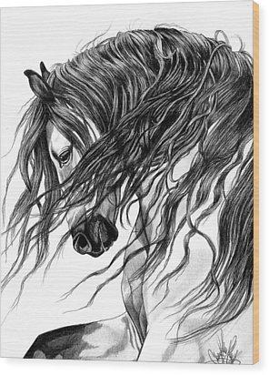 Andalusian Arabian Head Wood Print by Cheryl Poland