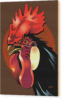 Andalusian Rooster 2 Wood Print by Patricia Howitt