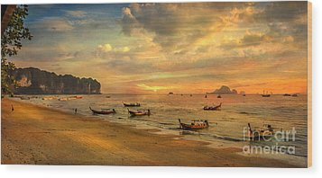 Andaman Sunset Wood Print by Adrian Evans