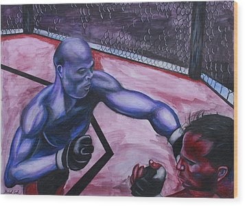 Anderson Silva Vs. Rich Franklin Wood Print by Michael Cook