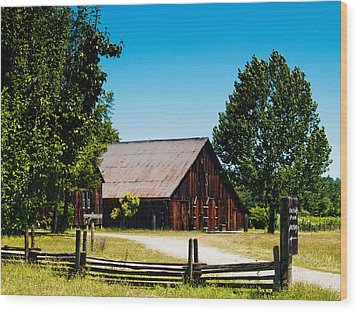 Anderson Valley Barn Wood Print by Bill Gallagher