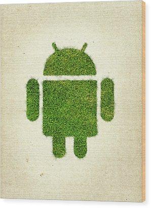 Andoird Grass Logo Wood Print by Aged Pixel